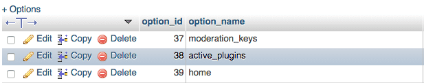 Screenshot of active_plugins table row in WordPress
