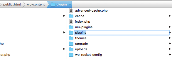 Screenshot of renaming the WordPress plugins folder