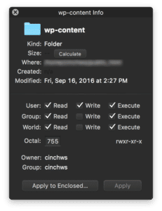 Screenshot of Transmit CHMOD file permissions dialog
