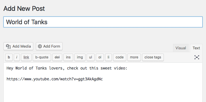 Screenshot of embedding a YouTube video in WordPress