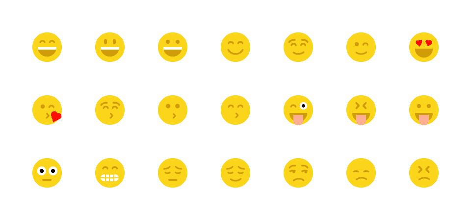 Short list of smiley emoticons