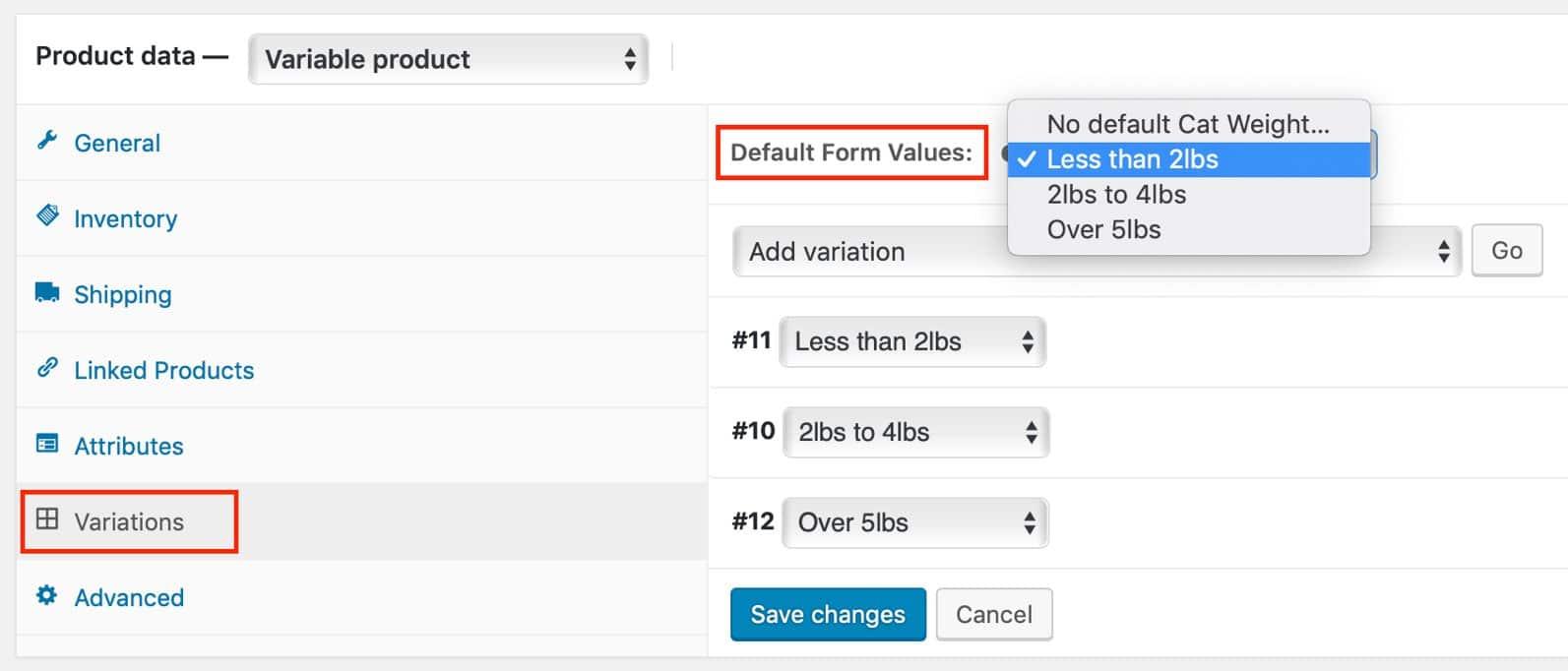 Change 'Choose an Option' variation dropdown label in