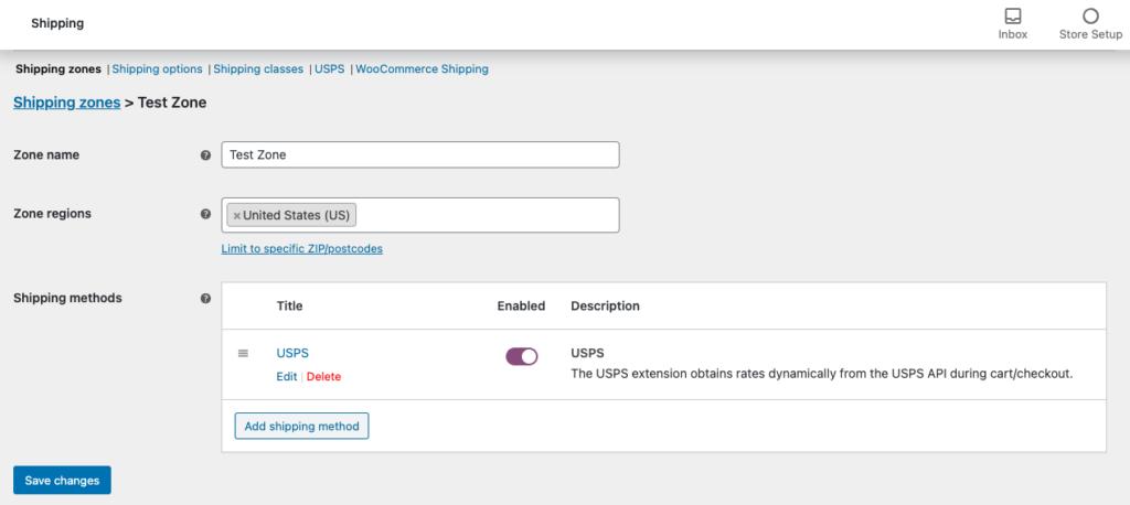WooCommerce USPS Shipping Integration - Edit Shipping Method