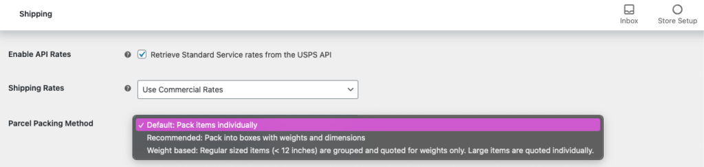WooCommerce USPS Shipping Integration - USPS Parcel Packing Method