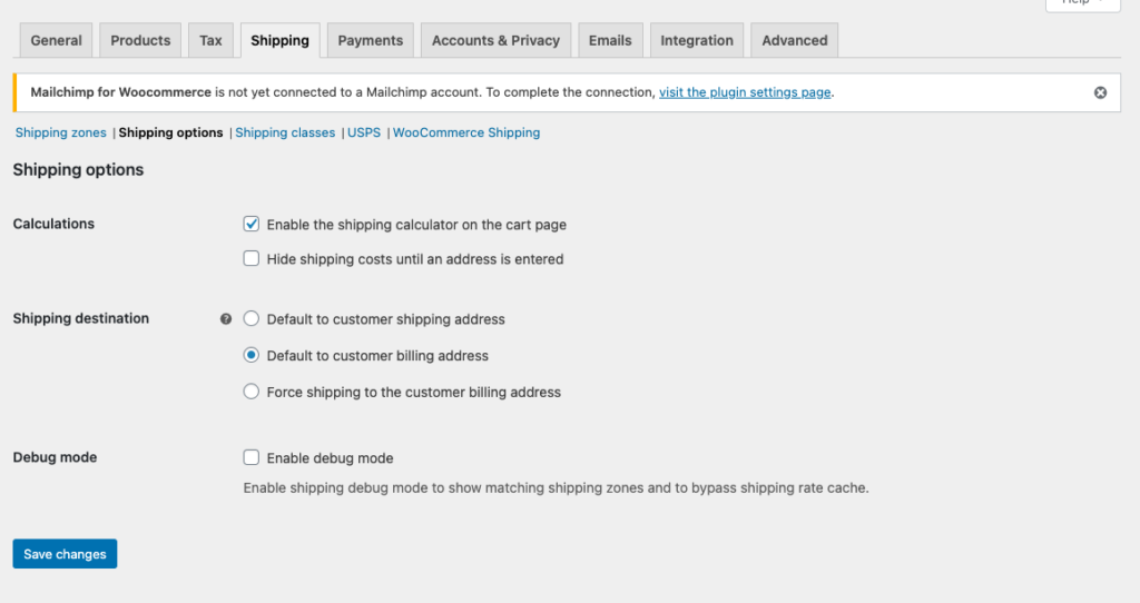 WooCommerce USPS Shipping Integration - Shipping Options