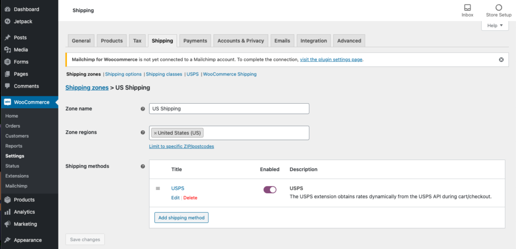 WooCommerce USPS Shipping Integration - Edit Shipping Zones