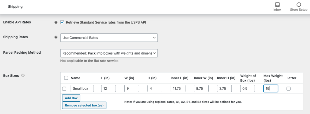 WooCommerce USPS Shipping Integration - USPS Box Packer