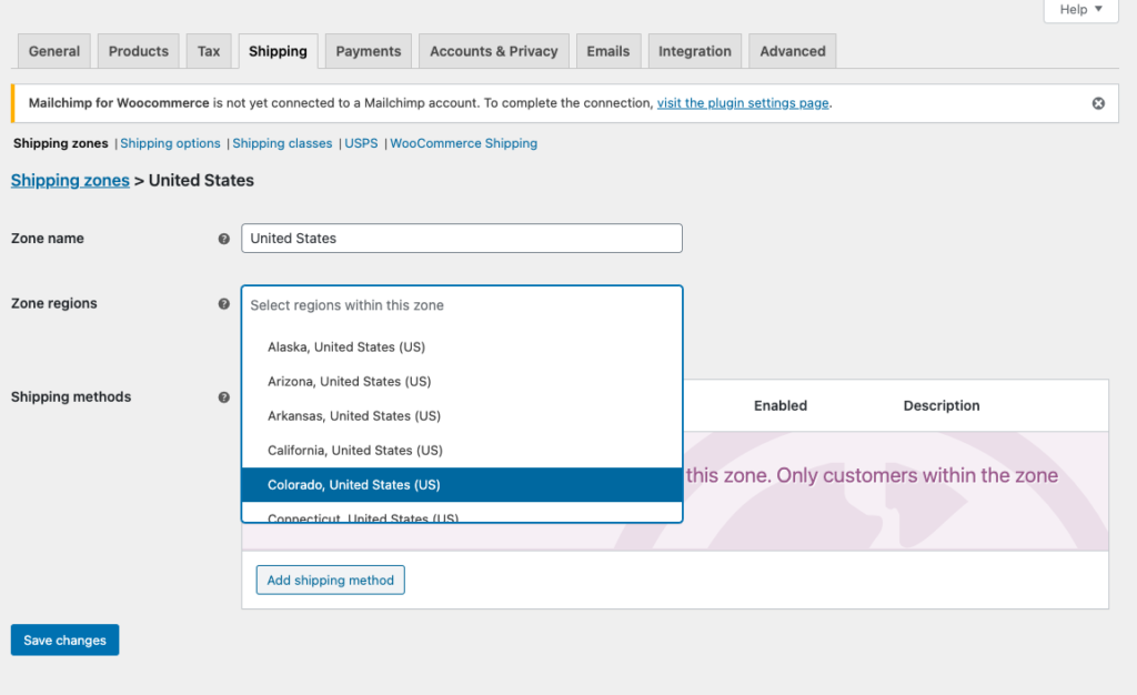 WooCommerce USPS Shipping Integration - Shipping Zones